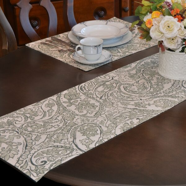 Sweet Pea Linens - Pewter Grey Paisley 60 inch Table Runner (SKU#: R-1021-C6) - Table Setting