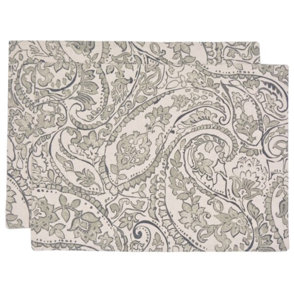 Sweet Pea Linens - Pewter Grey Paisley Rectangle Placemats - Set of Two (SKU#: RS2-1002-C6) - Product Image
