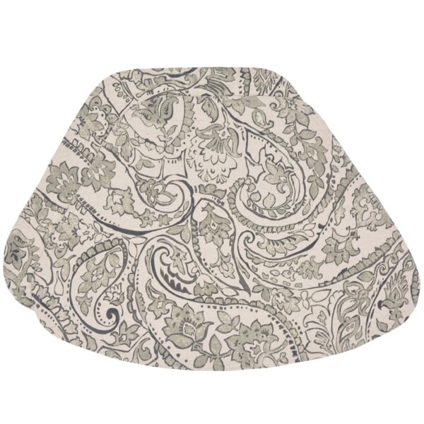 Sweet Pea Linens - Pewter Grey Paisley Wedge-Shaped Placemats - Set of Two (SKU#: RS2-1006-C6) - Product Image