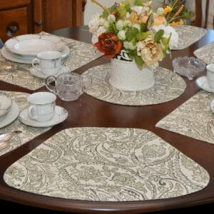 Pewter Grey Paisley Table Linen Collection