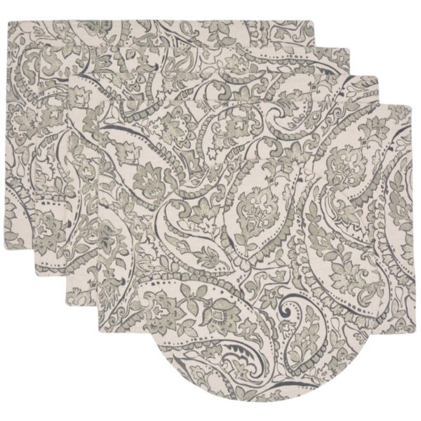 Sweet Pea Linens - Pewter Grey Paisley Rectangle Placemats - Set of Four plus Center Round-Charger (SKU#: RS5-1002-C6) - Product Image