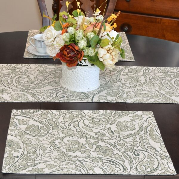 Sweet Pea Linens - Pewter Grey Paisley Rectangle Placemats - Set of Four plus Center Round-Charger (SKU#: RS5-1002-C6) - Table Setting