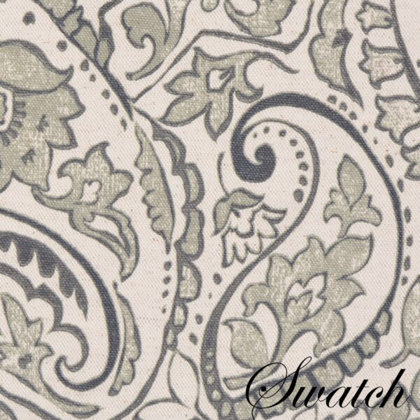 Sweet Pea Linens - Pewter Grey Paisley Rectangle Placemats - Set of Four plus Center Round-Charger (SKU#: RS5-1002-C6) - Swatch