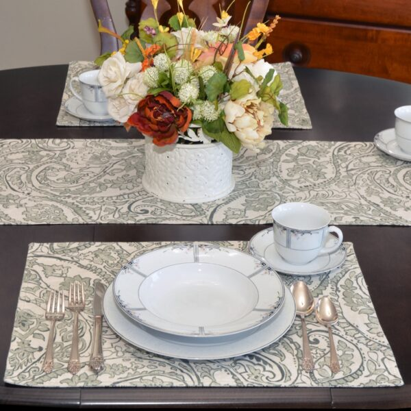 Sweet Pea Linens - Pewter Grey Paisley Rectangle Placemats - Set of Four plus Center Round-Charger (SKU#: RS5-1002-C6) - Alternate Table Setting