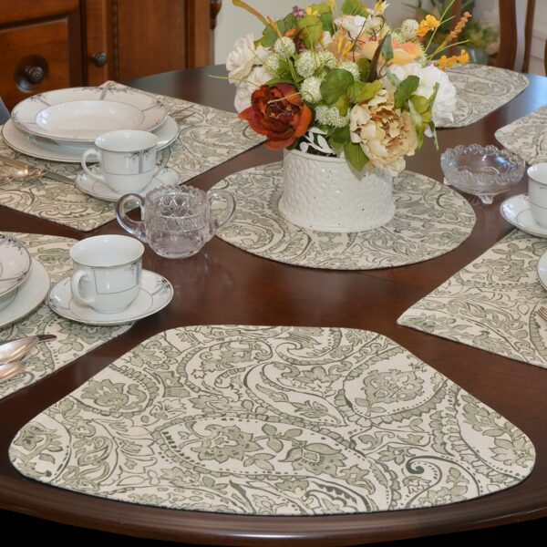Sweet Pea Linens - Pewter Grey Paisley Wedge-Shaped Placemats - Set of Four plus Center Round-Charger (SKU#: RS5-1006-C6) - Table Setting