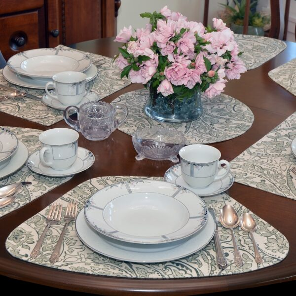 Sweet Pea Linens - Pewter Grey Paisley Wedge-Shaped Placemats - Set of Four plus Center Round-Charger (SKU#: RS5-1006-C6) - Alternate Table Setting