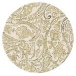 Sweet Pea Linens - Flaxen Yellow Paisley Charger-Center Round Placemat (SKU#: R-1015-C7) - Product Image