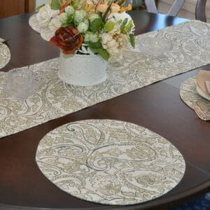 Sweet Pea Linens - Flaxen Yellow Paisley Charger-Center Round Placemat (SKU#: R-1015-C7) - Table Setting