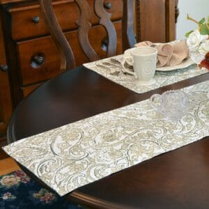 Sweet Pea Linens - Flaxen Yellow Paisley 60 inch Table Runner (SKU#: R-1021-C7) - Table Setting