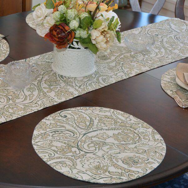 Sweet Pea Linens - Flaxen Yellow Paisley 60 inch Table Runner (SKU#: R-1021-C7) - Alternate Table Setting