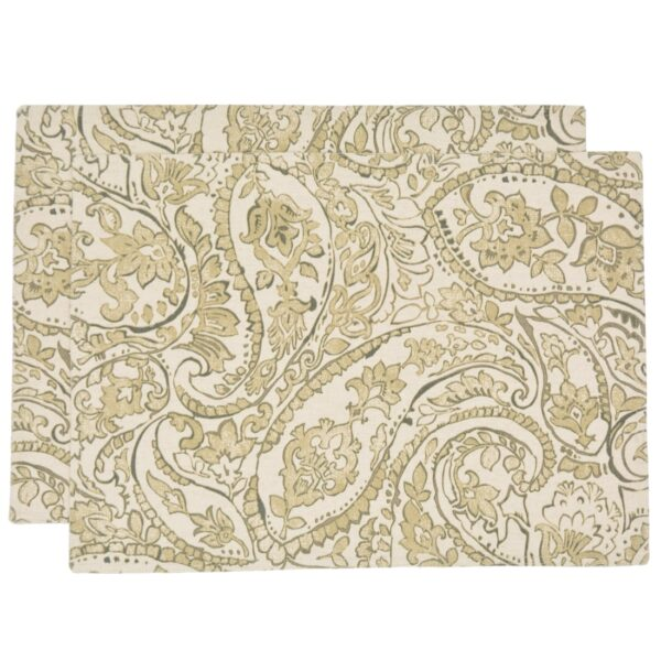 Sweet Pea Linens - Flaxen Yellow Paisley Rectangle Placemats - Set of Two (SKU#: RS2-1002-C7) - Product Image