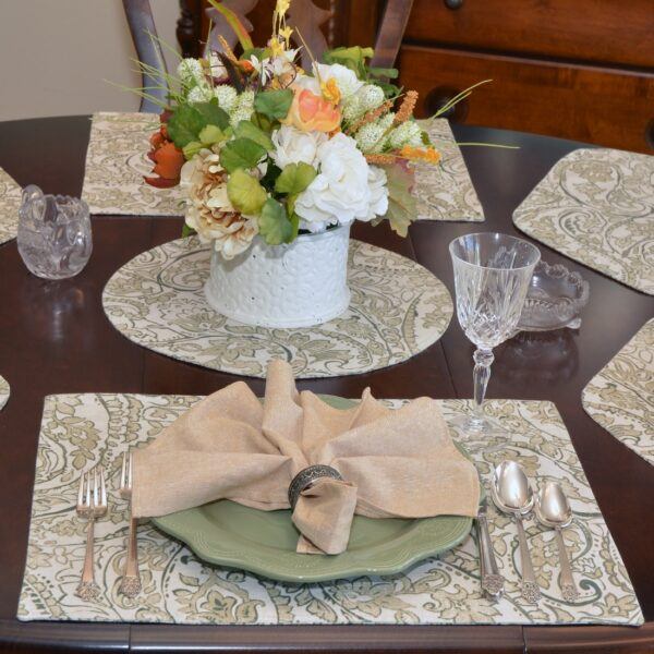 Sweet Pea Linens - Flaxen Yellow Paisley Rectangle Placemats - Set of Two (SKU#: RS2-1002-C7) - Alternate Table Setting