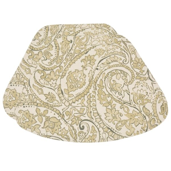 Sweet Pea Linens - Flaxen Yellow Paisley Wedge-Shaped Placemats - Set of Two (SKU#: RS2-1006-C7) - Product Image