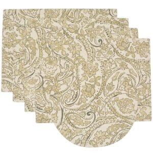 Sweet Pea Linens - Flaxen Yellow Paisley Rectangle Placemats - Set of Four plus Center Round-Charger (SKU#: RS5-1002-C7) - Product Image