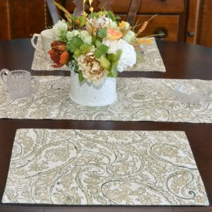 Sweet Pea Linens - Flaxen Yellow Paisley Rectangle Placemats - Set of Four plus Center Round-Charger (SKU#: RS5-1002-C7) - Table Setting