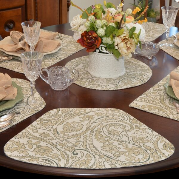 Sweet Pea Linens - Flaxen Yellow Paisley Wedge-Shaped Placemats - Set of Four plus Center Round-Charger (SKU#: RS5-1006-C7) - Table Setting