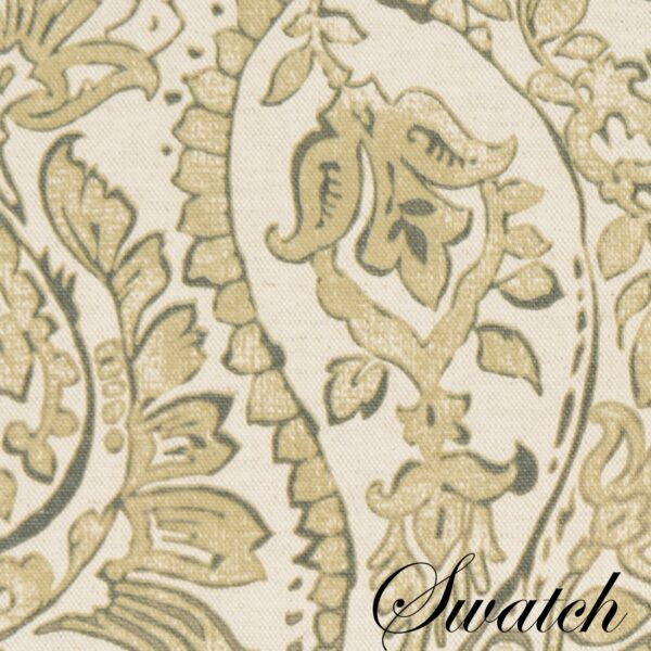 Sweet Pea Linens - Flaxen Yellow Paisley Wedge-Shaped Placemats - Set of Four plus Center Round-Charger (SKU#: RS5-1006-C7) - Swatch