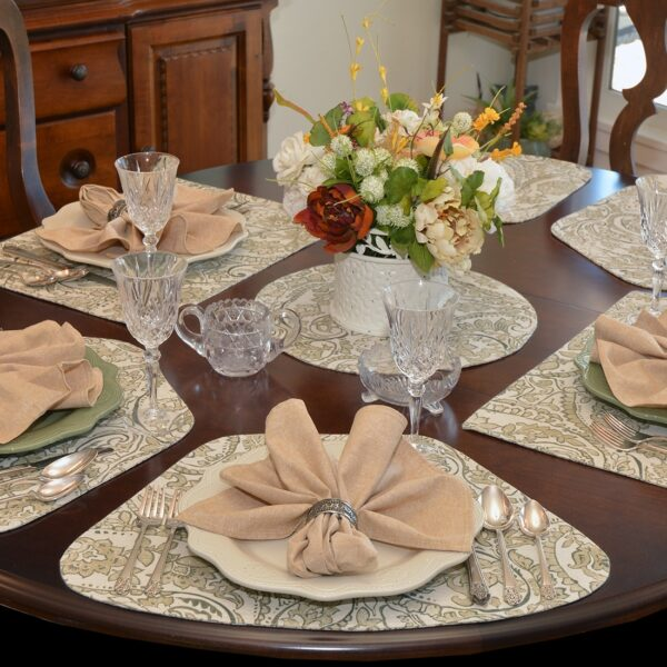 Sweet Pea Linens - Flaxen Yellow Paisley Wedge-Shaped Placemats - Set of Four plus Center Round-Charger (SKU#: RS5-1006-C7) - Alternate Table Setting