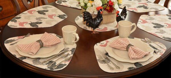 Sweet Pea Linens - Rifton Red Rooster Print Table Linen Collection (C8)