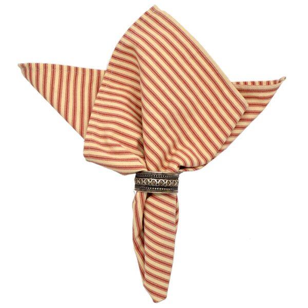 Sweet Pea Linens - Red & Natural Mattress Ticking Stripe Cloth Napkin (SKU#: R-1010-C8) - Product Image