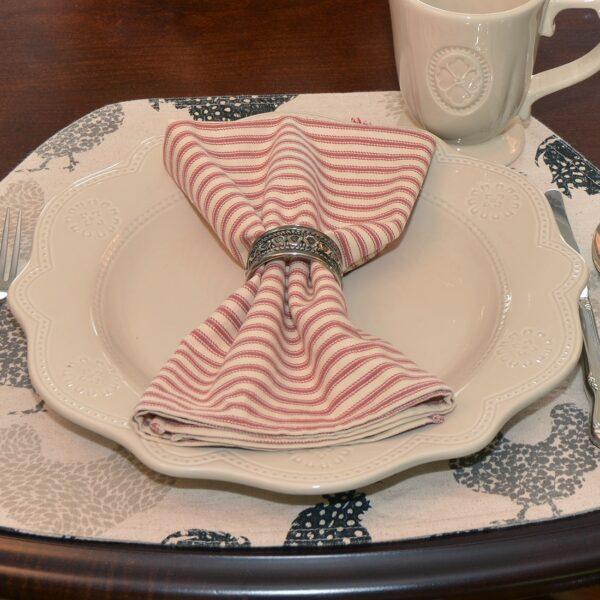 Sweet Pea Linens - Red & Natural Mattress Ticking Stripe Cloth Napkin (SKU#: R-1010-C8) - Table Setting