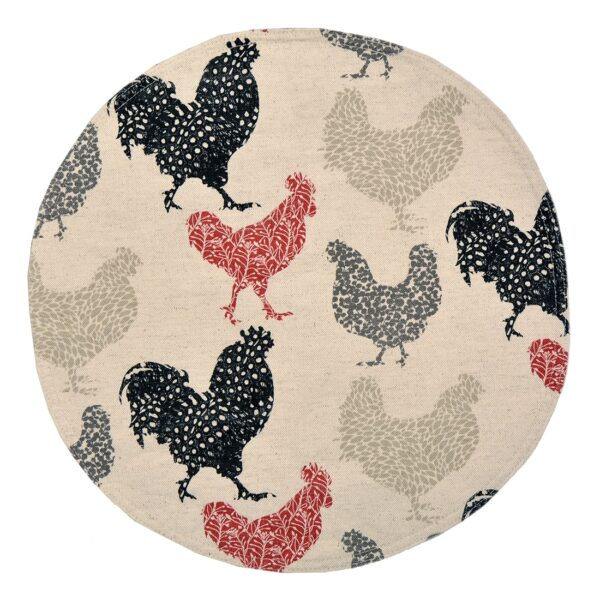 Sweet Pea Linens - Rifton Red Rooster Charger-Center Round Placemat (SKU#: R-1015-C8) - Product Image