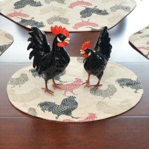 Sweet Pea Linens - Rifton Red Rooster Charger-Center Round Placemat (SKU#: R-1015-C8) - Table Setting