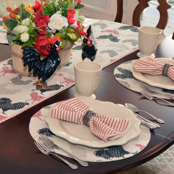 Sweet Pea Linens - Rifton Red Rooster Charger-Center Round Placemat (SKU#: R-1015-C8) - Alternate Table Setting
