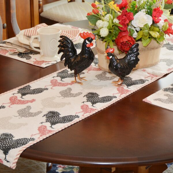 Sweet Pea Linens - Rifton Red Rooster 60 inch Table Runner (SKU#: R-1021-C8) - Table Setting