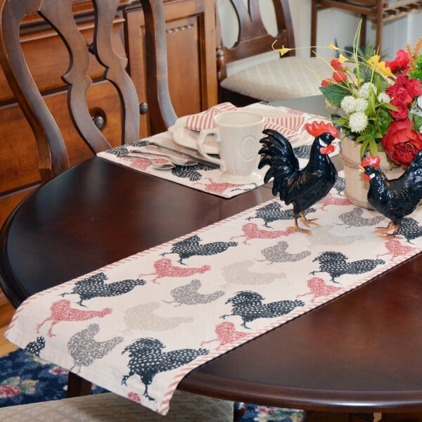 Sweet Pea Linens - Rifton Red Rooster 60 inch Table Runner (SKU#: R-1021-C8) - Alternate Table Setting