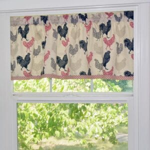 Sweet Pea Linens - Rifton Red Rooster Valance (SKU#: R-1091-C8) - Table Setting