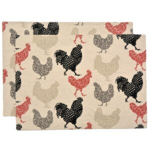 Sweet Pea Linens - Rifton Red Rooster Rectangle Placemats - Set of Two (SKU#: RS2-1002-C8) - Product Image