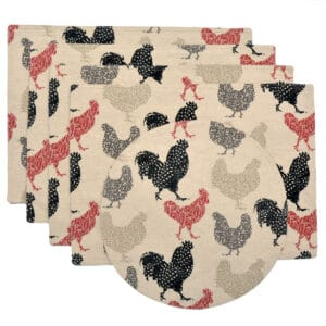 Sweet Pea Linens - Rifton Red Rooster Rectangle Placemats - Set of Four plus Center Round-Charger (SKU#: RS5-1002-C8) - Product Image