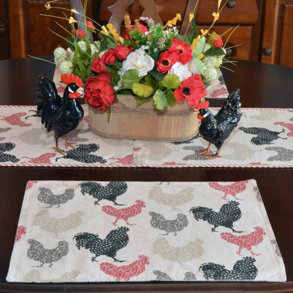 Sweet Pea Linens - Rifton Red Rooster Rectangle Placemats - Set of Four plus Center Round-Charger (SKU#: RS5-1002-C8) - Table Setting
