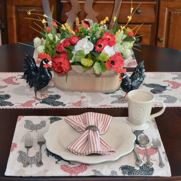Sweet Pea Linens - Rifton Red Rooster Rectangle Placemats - Set of Four plus Center Round-Charger (SKU#: RS5-1002-C8) - Alternate Table Setting