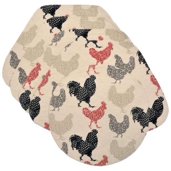 Sweet Pea Linens - Rifton Red Rooster Wedge-Shaped Placemats - Set of Four plus Center Round-Charger (SKU#: RS5-1006-C8) - Product Image