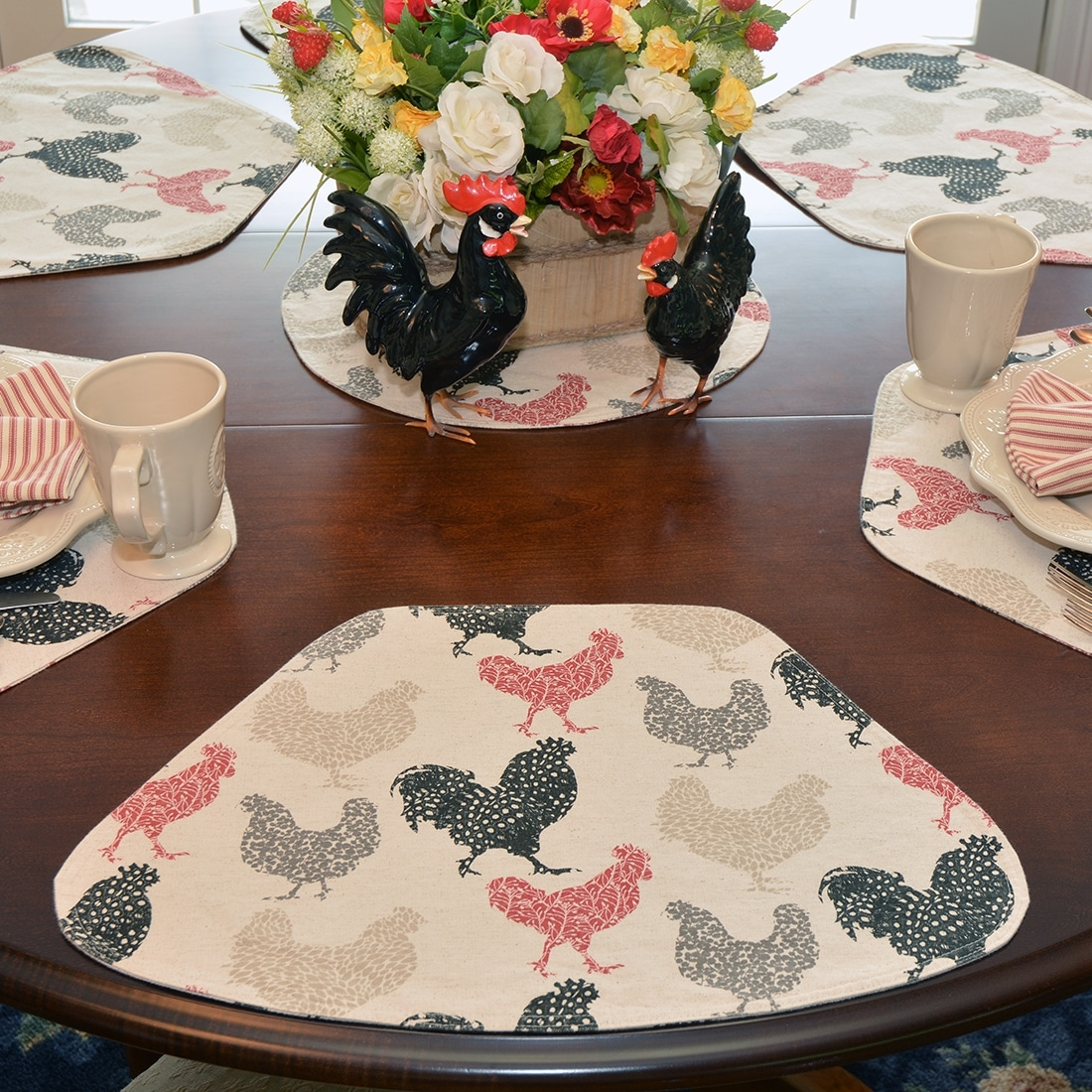 Sweet Pea Linens - Rifton Red Rooster Wedge-Shaped Placemats - Set of Four plus Center Round-Charger (SKU#: RS5-1006-C8) - Table Setting