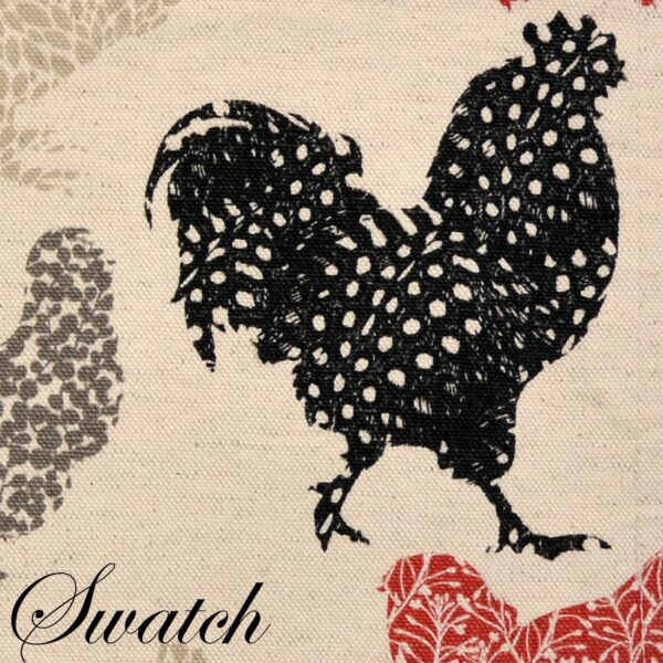 Sweet Pea Linens - Rifton Red Rooster Wedge-Shaped Placemats - Set of Four plus Center Round-Charger (SKU#: RS5-1006-C8) - Swatch