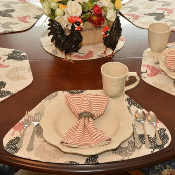 Sweet Pea Linens - Rifton Red Rooster Wedge-Shaped Placemats - Set of Four plus Center Round-Charger (SKU#: RS5-1006-C8) - Alternate Table Setting