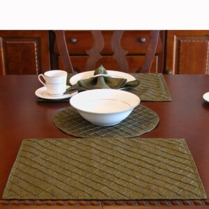 Sweet Pea Linens - Green Pintucked Rectangle Placemats - Set of Two (SKU#: RS2-1002-D4) - Table Setting