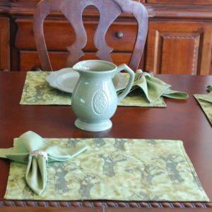 Sweet Pea Linens - Sage Green Broccoli Print Rectangle Placemats - Set of Two (SKU#: RS2-1002-E11) - Table Setting