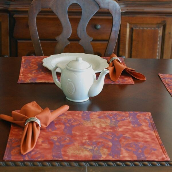 Sweet Pea Linens - Terracotta Brocolli Print Rectangle Placemats - Set of Two (SKU#: RS2-1002-E12) - Table Setting