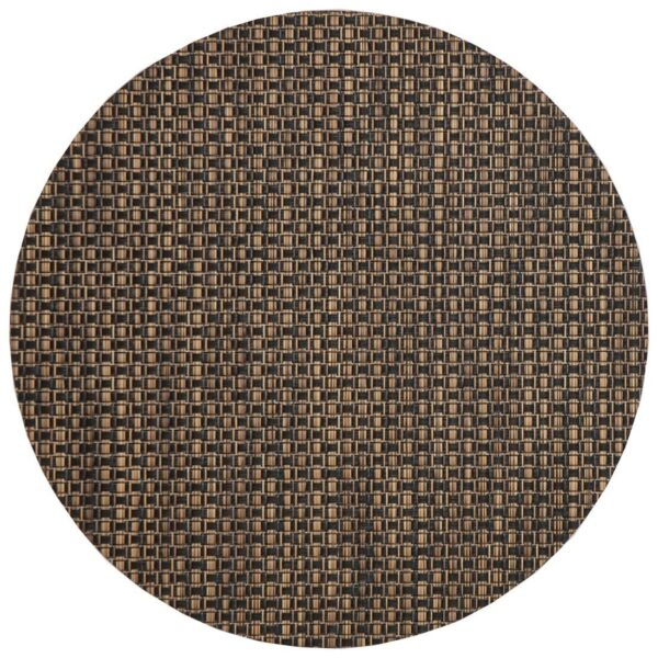 Sweet Pea Linens - Driftwood (Black & Tan) Wipe Clean Charger-Center Round Placemat (SKU#: R-1015-F14) - Product Image