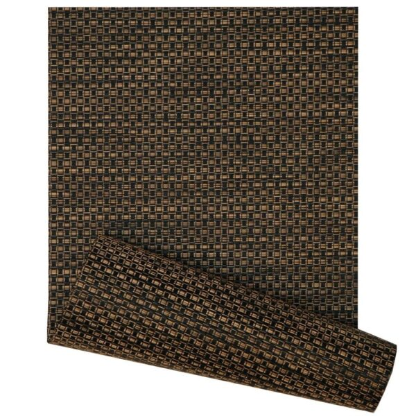 Sweet Pea Linens - Driftwood (Black & Tan) Wipe Clean 72 inch Table Runner (SKU#: R-1024-F14) - Product Image