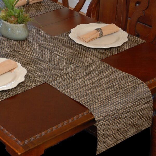Sweet Pea Linens - Driftwood (Black & Tan) Wipe Clean 72 inch Table Runner (SKU#: R-1024-F14) - Table Setting