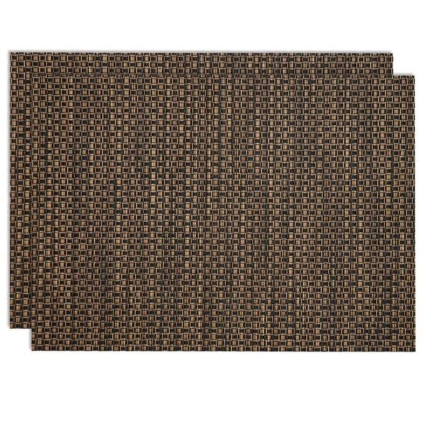Sweet Pea Linens - Driftwood (Black & Tan) Wipe Clean Rectangle Placemats - Set of Two (SKU#: RS2-1002-F14) - Product Image