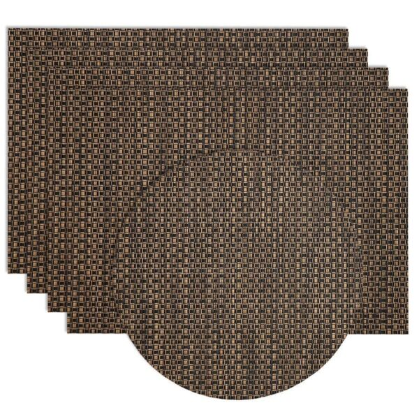 Sweet Pea Linens - Driftwood (Black & Tan) Wipe Clean Rectangle Placemats - Set of Four plus Center Round-Charger (SKU#: RS5-1002-F14) - Product Image