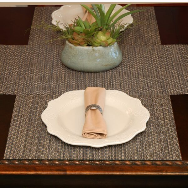 Sweet Pea Linens - Driftwood (Black & Tan) Wipe Clean Rectangle Placemats - Set of Four plus Center Round-Charger (SKU#: RS5-1002-F14) - Table Setting