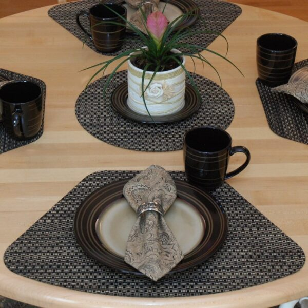 Sweet Pea Linens - Driftwood (Black & Tan) Wipe Clean Wedge-Shaped Placemats - Set of Four plus Center Round-Charger (SKU#: RS5-1006-F14) - Table Setting