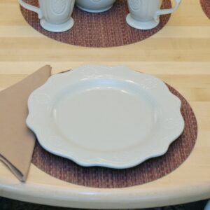 Sweet Pea Linens - Redwood (Brick & Tan) Wipe Clean Charger-Center Round Placemat (SKU#: R-1015-F15) - Table Setting
